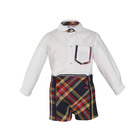 Miranda Boys Miranda AW20 Pre-Orders - Boys Tartan Print Shorts with Matching Shirt 148-23
