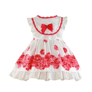 Miranda Girls Dresses Miranda SS21 PRE-ORDER - White & Hot Pink Floral Print Dress 270V