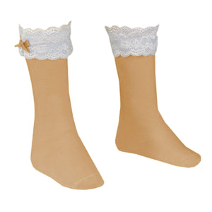 Miranda Socks & Tights Miranda AW19 - Camel Knee High Lace Top Socks