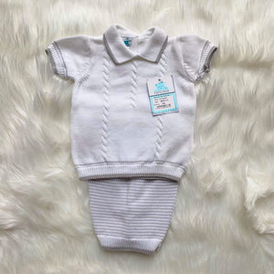 Pangasa Baby Baby Knitwear 3m Pangasa Baby - White & Grey Stripe 2pc Knitted Set