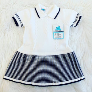 Pangasa Baby Baby Knitwear Pangasa Baby - White & Navy Stripe Dress