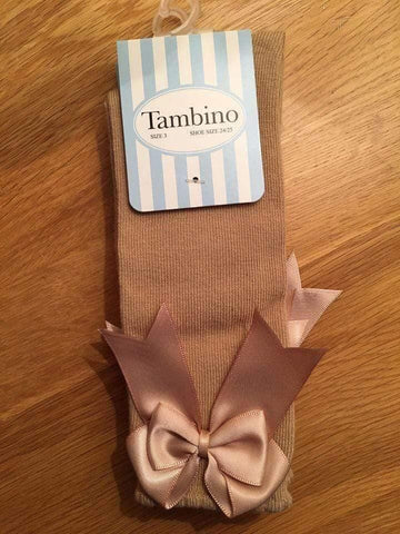 Tambino Footwear 28-30 Socks - Camel Knee High Bow Socks