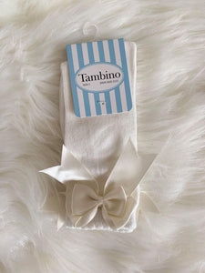 Tambino Footwear Socks - Cream Knee High Bow Socks