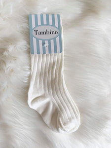 Tambino Footwear Socks - Cream Ribbed Knee High Socks Boys