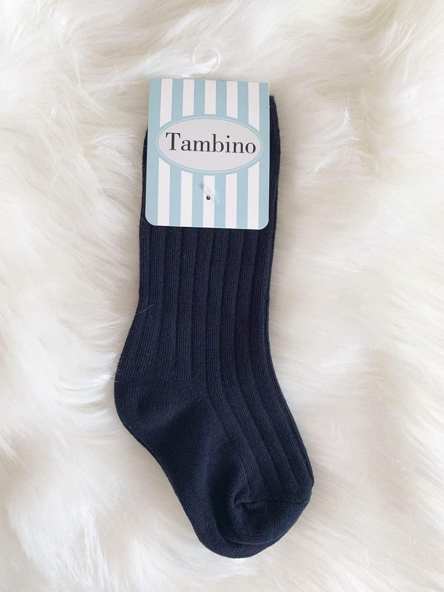 Tambino Footwear Socks - Navy Ribbed Knee HIgh Boys