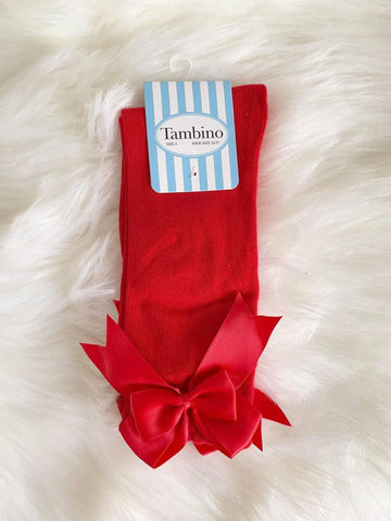 Tambino Footwear Socks - Red Knee High Bow Socks
