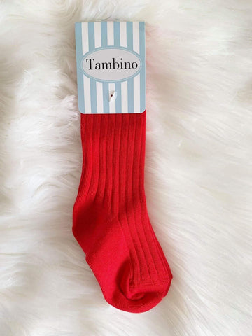 Tambino Footwear Socks - Red Ribbed Knee High Socks Boys