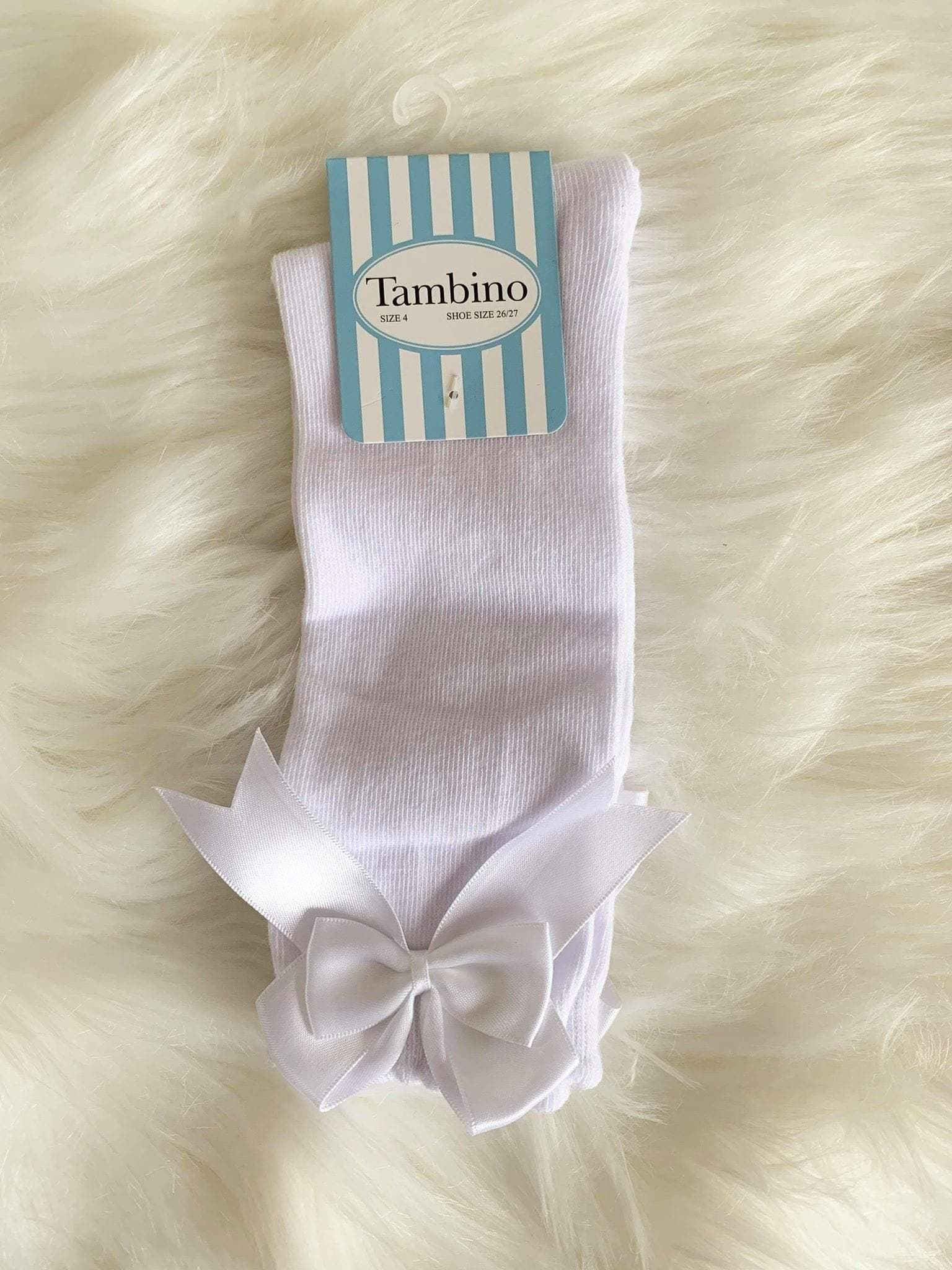 Tambino Footwear Socks - White Knee High Bow Socks
