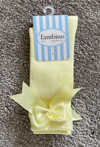 Tambino Socks & Tights Tambino Knee High Bow Socks - LEMON