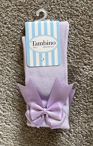 Tambino Socks & Tights Tambino Knee High Bow Socks - LILAC