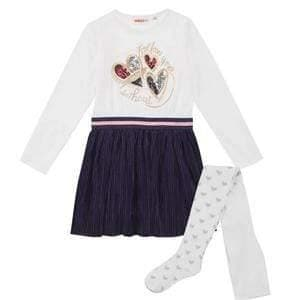 UBS2 Girls Dresses UBS2 AW20 - Cream & Navy Dress with Tights