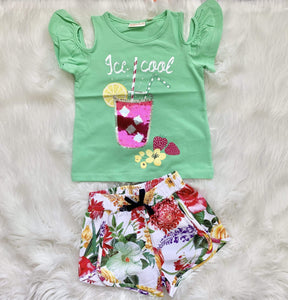 UBS2 Girls Sets UBS2 SS20 - Mint Cold Shoulder T-shirt with Matching Floral Shorts