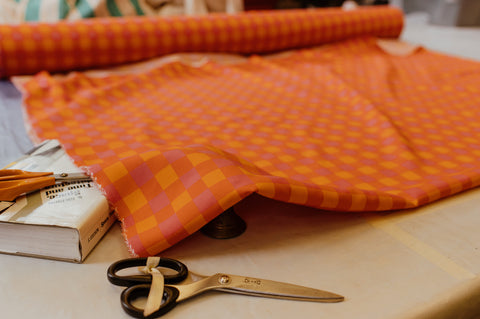 Our gingham is printed on buttery soft sustainable Tencel, using Eco-Fast inks, here in the UK, with our bespoke patterns