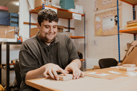 Once an item is made, it's then packed and sent out to you by MailOut. MailOut is a mailing and fulfilment social enterprise that provides training and wellbeing support for adults with learning disabilities.
