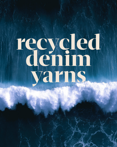 Our Cotton Yarn is made from leftover pre-consumer denim scraps. Offcuts get scooped up and re-spun into yarn, rather than heading to a landfill. XXX saves 20,000 litres of water for every kilogram of upcycled denim, and it doesn't use any nasty dye fixers or chemicals in this process.