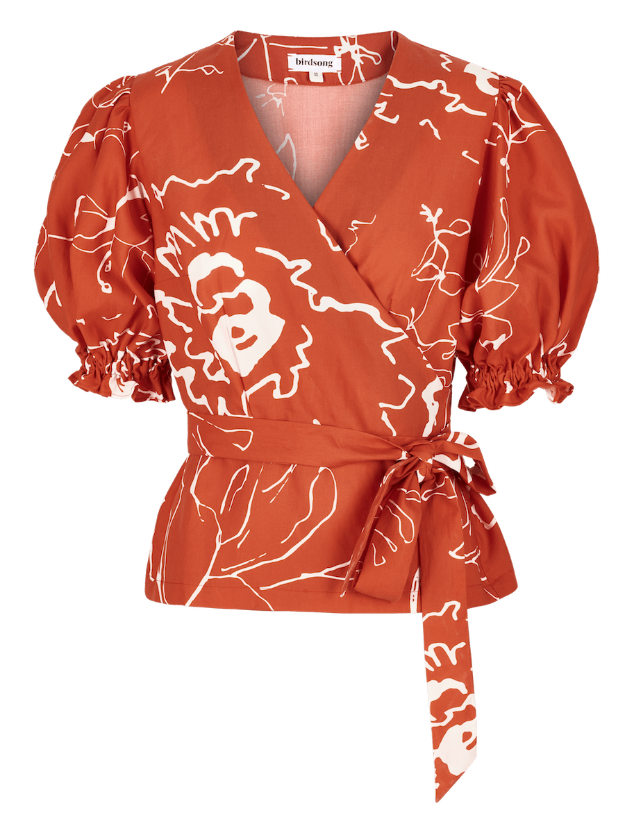 Red Printed Puff Sleeve Wrap Top ⚡ 10 - 12 week wait CLOTHING Birdsong
