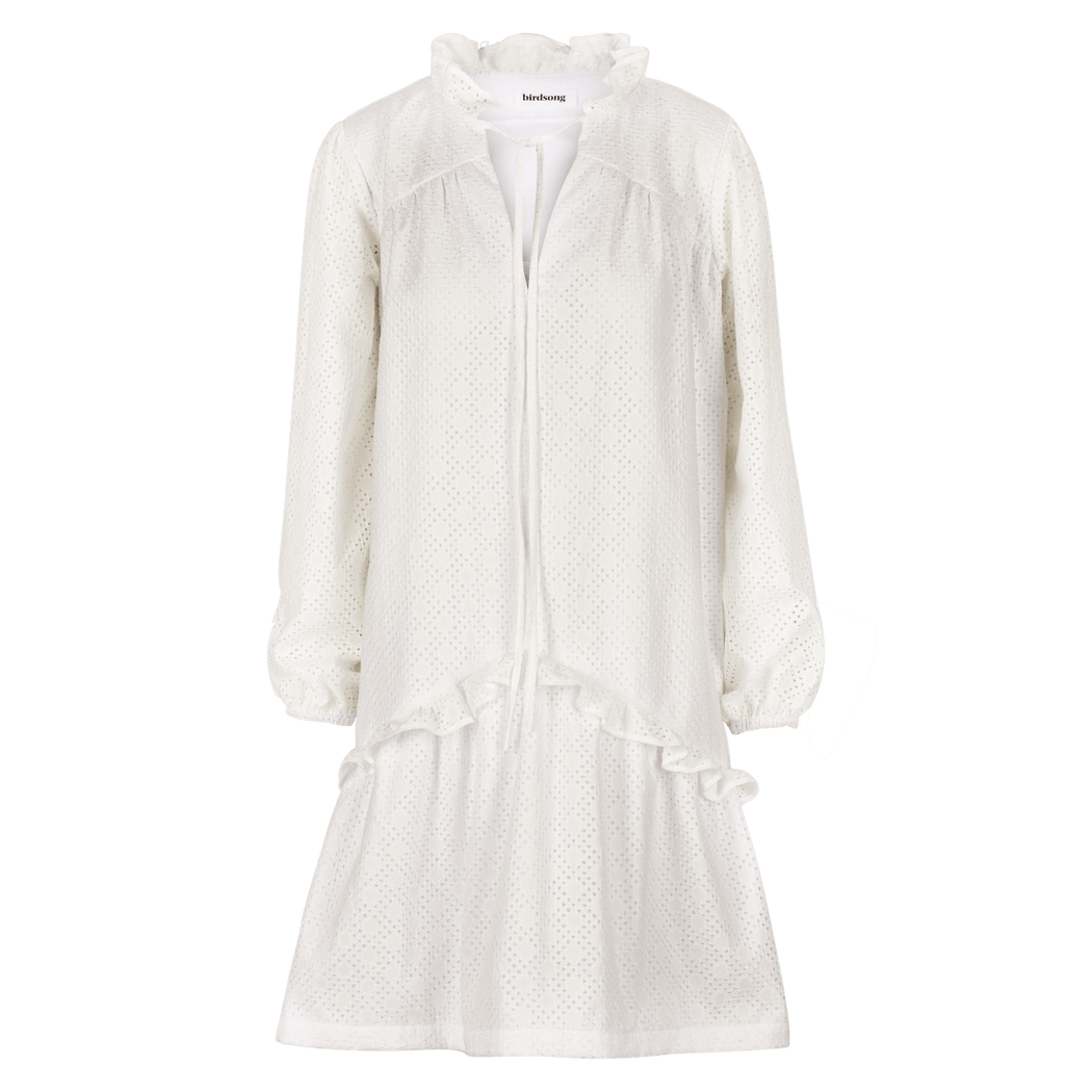 White Broderie Anglaise Prairie Dress (limited edition) CLOTHING Birdsong