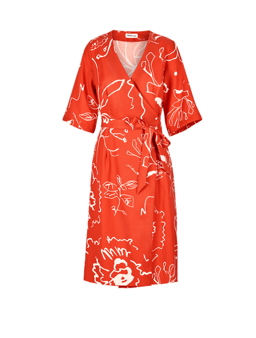 Red Print Wrap Dress ⚡ 10 - 12 week wait CLOTHING Birdsong