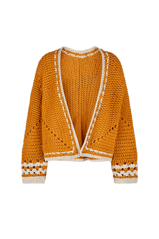 Turmeric Recycled Crochet Cardigan CLOTHING KNITTERS-LIZ