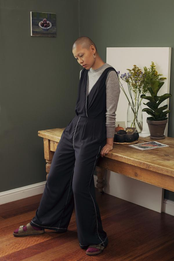Sanford Jumpsuit in Black Bamboo Silk