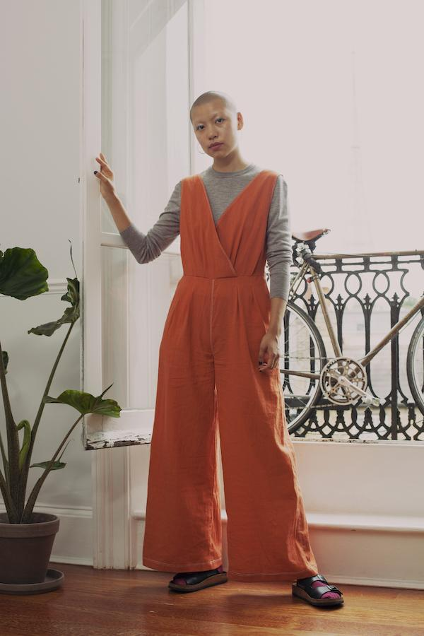 Sanford Jumpsuit in Burnt Orange Khadi