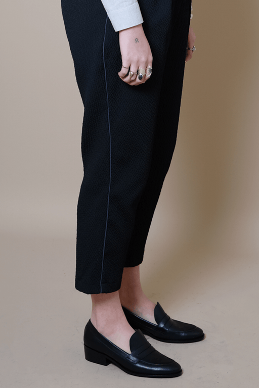 Devon Black Matt Textured Trousers with Midnight Stripe
