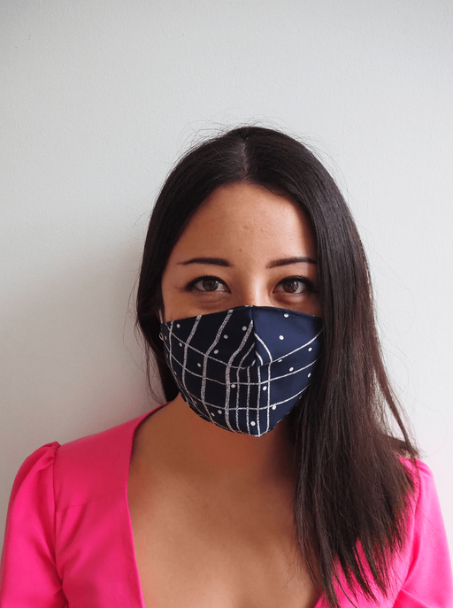 Navy Grid Tencel Offcuts Face Mask ⚡ 1 - 2 week wait ACCESSORIES FW