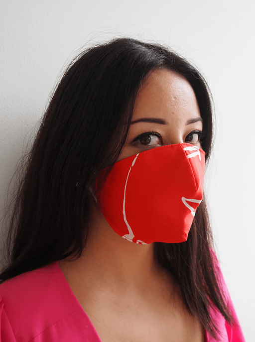 Red Printed Tencel Offcuts Face Mask ⚡ 1 - 2 week wait ACCESSORIES FW