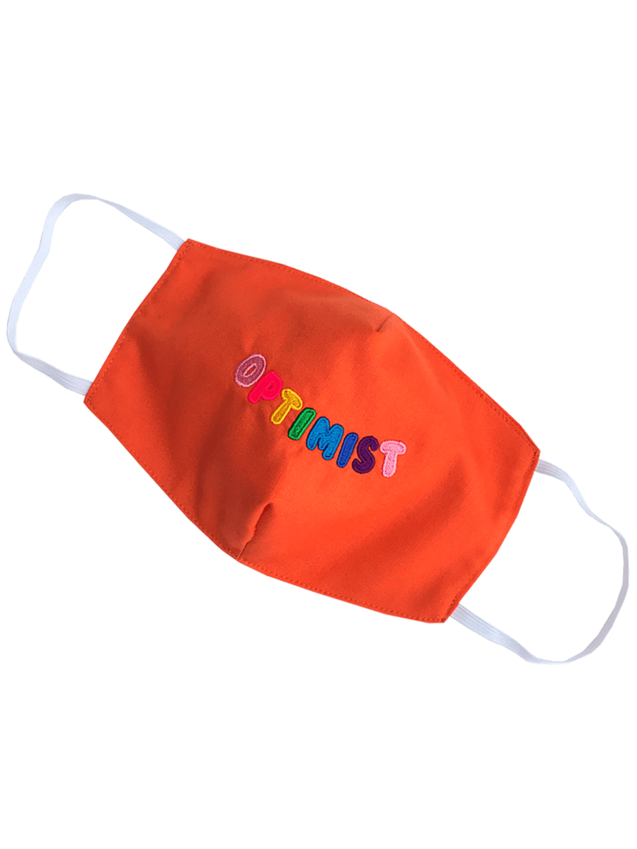 Living Wage Embroidered Optimist Face Masks Birdsong Orange