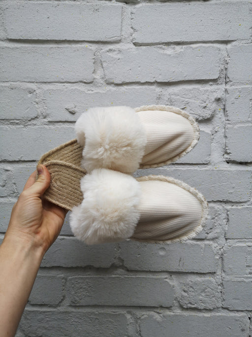Vegan Reclaimed Fur Open Slippers SHOES JUTA