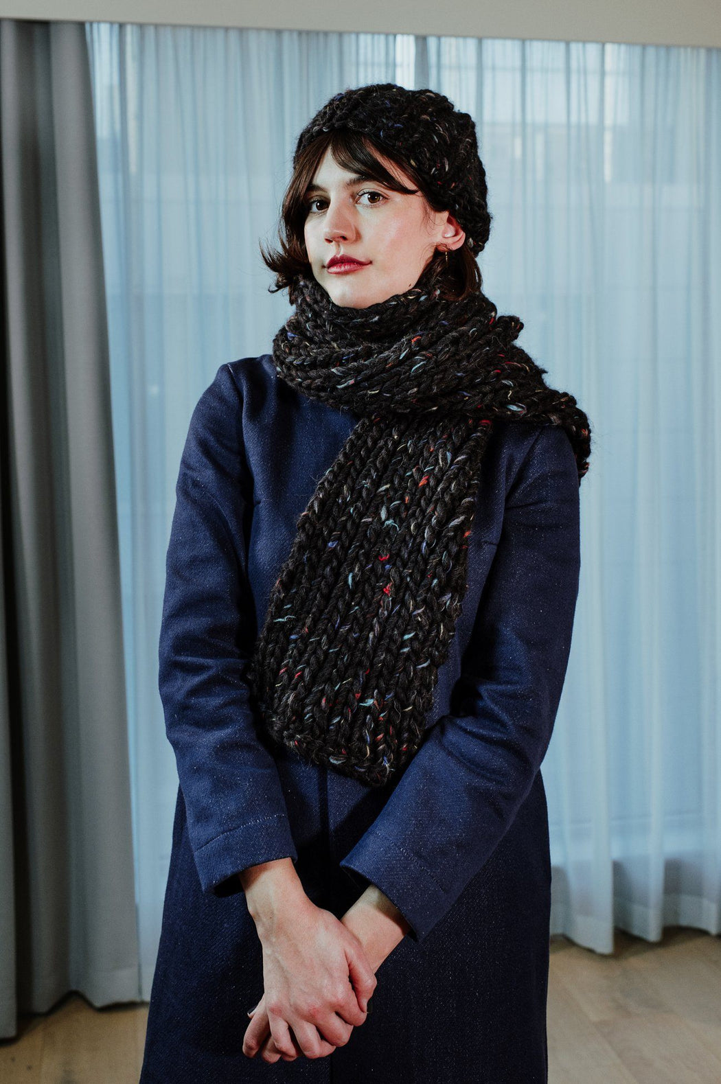 Hand-knitted Wool Black Flecked Scarf ACCESSORIES KNITTERS-CASSIE