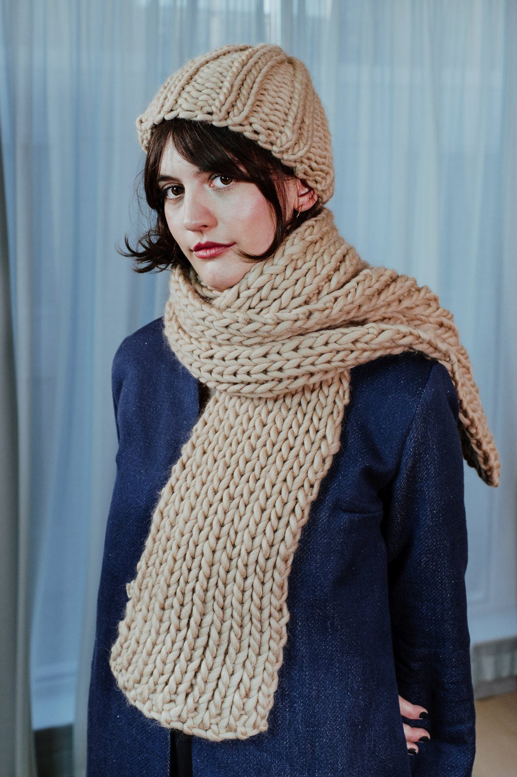 Hand-knitted Wool Camel Scarf ACCESSORIES KNITTERS-CASSIE