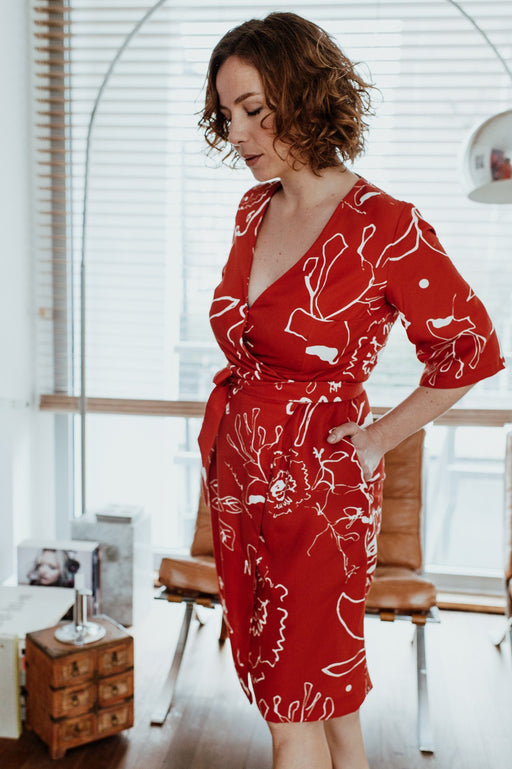 Red Print Wrap Dress