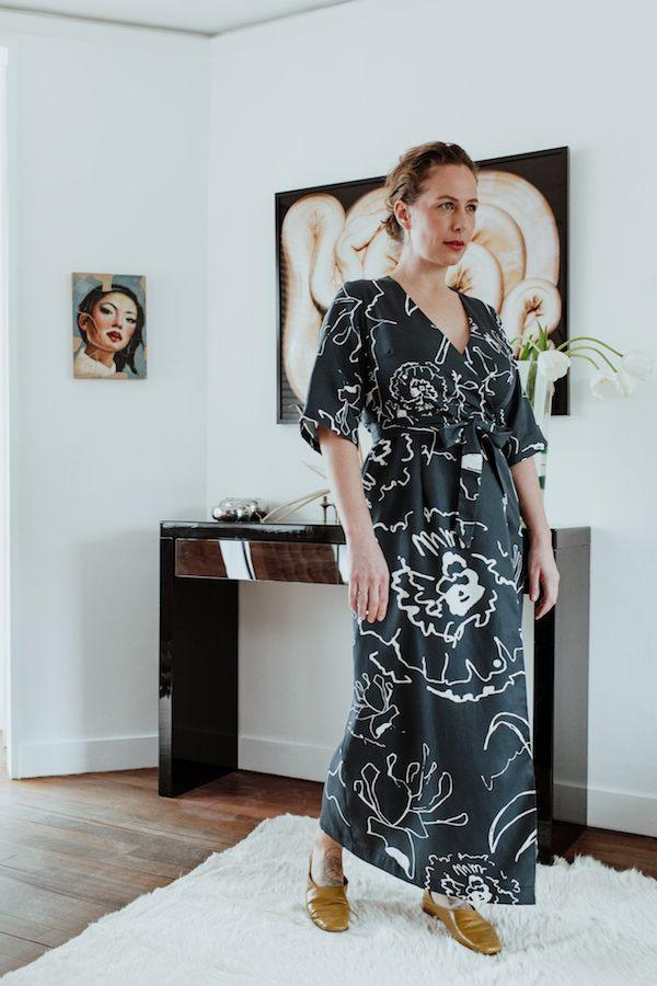 Navy Blue Printed Wrap Dress CLOTHING Birdsong