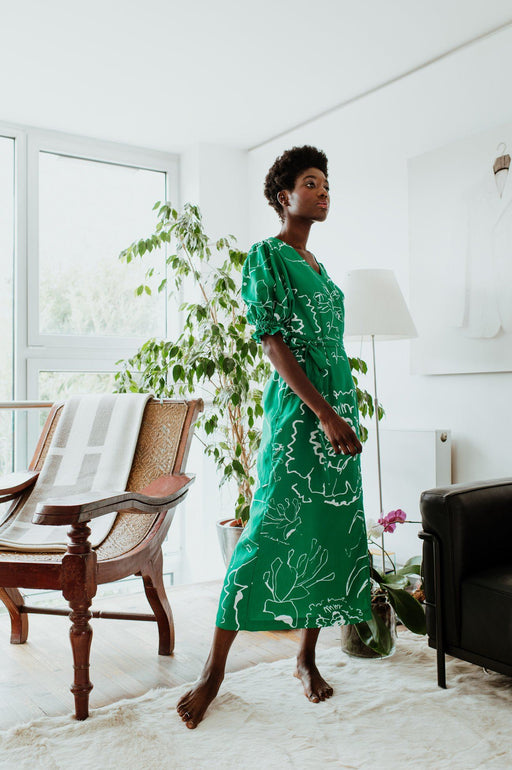 Emerald Green Printed Maxi Dress