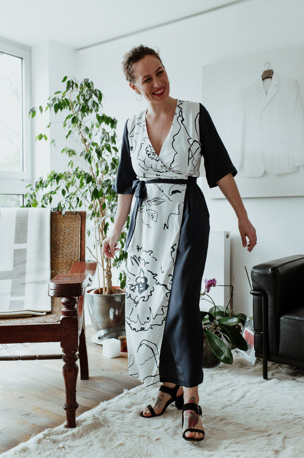 White and Navy Blue Print Mix Dress CLOTHING Birdsong