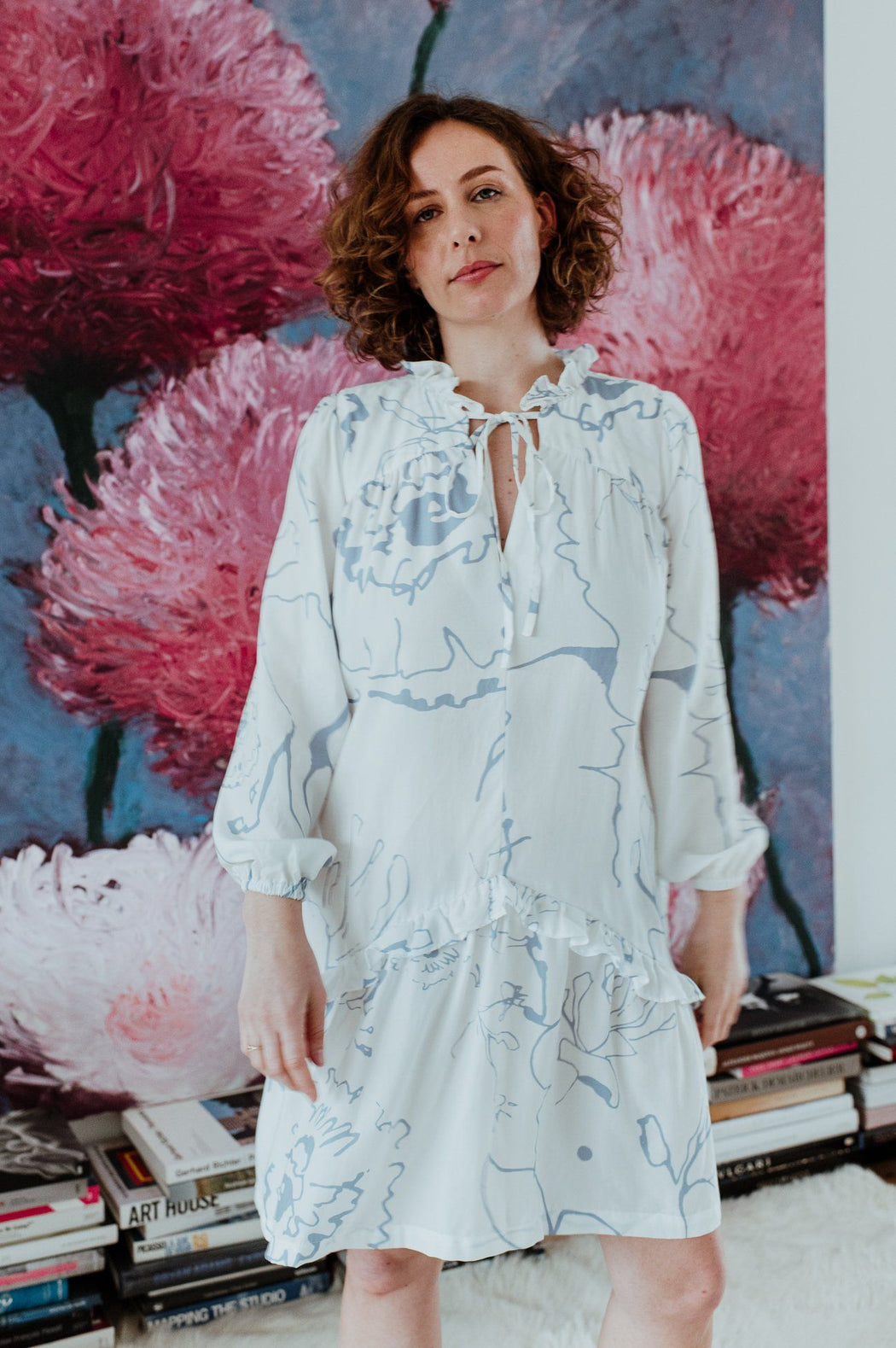 White Printed Prairie Dress CLOTHING Birdsong