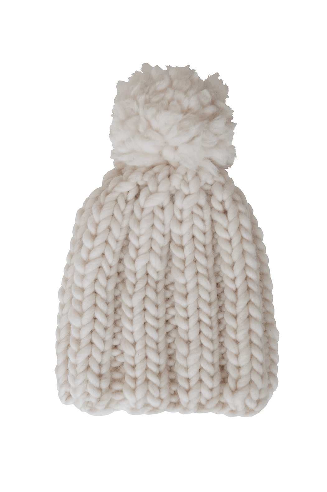 Cream Beanie with Pompom