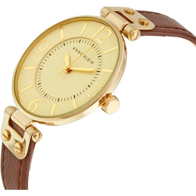 Anne Klein 109168IVBN Women's Tone And Brown Leather Strap Watch