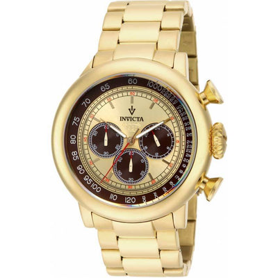 Invicta 15064 Men's Vintage Chronograph Tachymeter Brown, Ivory Dial  Watch