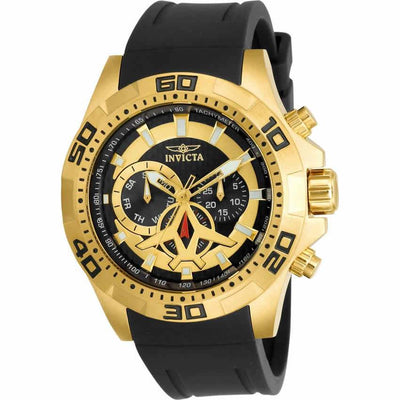 Invicta 21738 Men's Aviator Black Polyurethane Band Steel Case Quartz Analog Watch
