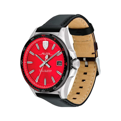 Ferrari 830489 Men's Pilota Stainless Steel Red Dial Leather Watch