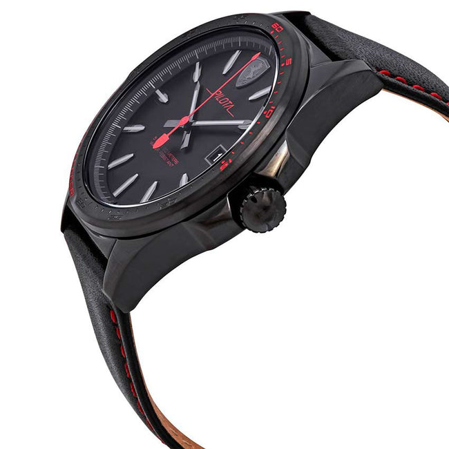 Ferrari 830497 Men's Pilota Black Stainless Steel Leather  Watch