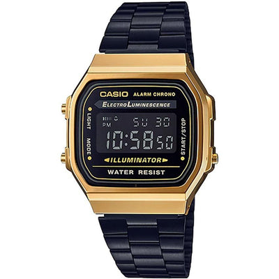 CASIO GENTS A168WEGB-1BDF  METAL BASIC GUNMETAL BRACELET SMALL SIZE RETRO WATCH