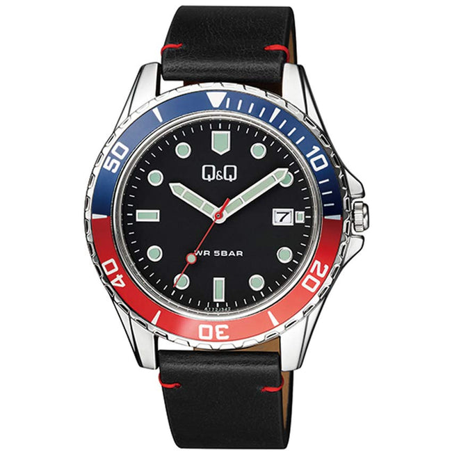 Q&Q A172J342Y Men's Mutifunction Blue/Red Bezel Leather Watch