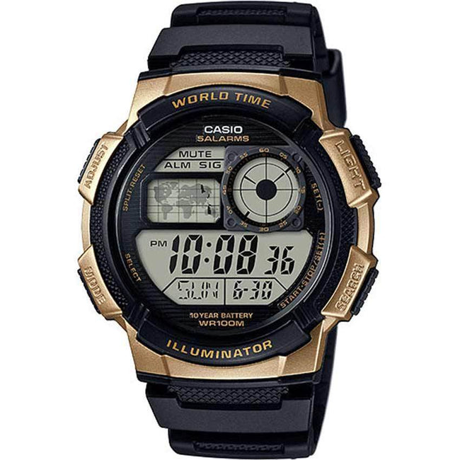 Casio AE1000W-1A3V Men's World Time Illuminator Black Gold Medium Size Watch