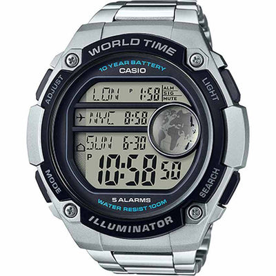 Casio AE3000WD-1AV Men's 3 City Time Display XLARGE Bracelet Watch