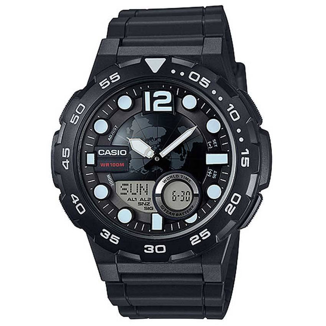 Casio AEQ100W-1AV Men's '3D Dial' Quartz Resin Automatic Watch