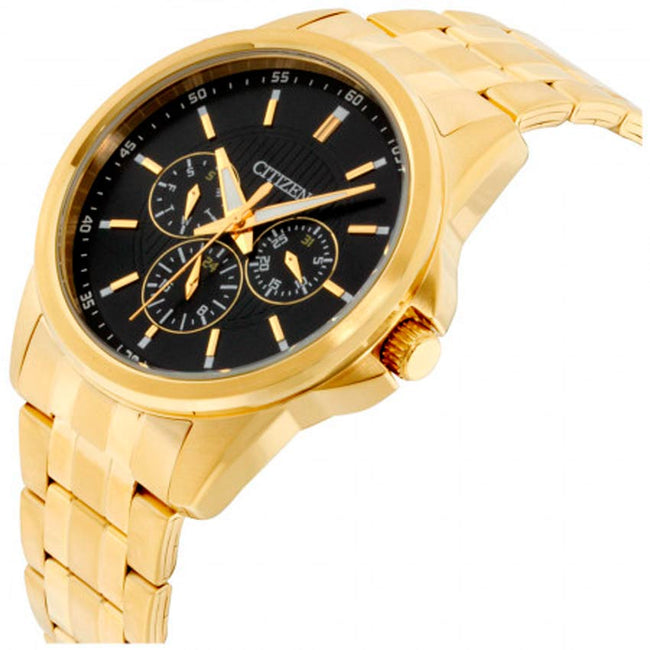 Citizen AG8342-52L Men's Black Dial Stainless Steel Gold Plated Medium Watch