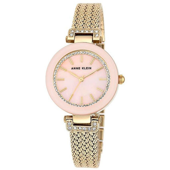 Anne Klein AK/1906PMGB Women's Swarovski Accented Gold-Tone Mesh Bracelet Medium Watch